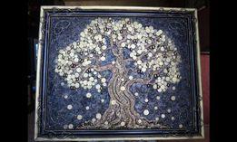 Панно из монет, Денежное дерево, картина на заказ, рыбки, подарок