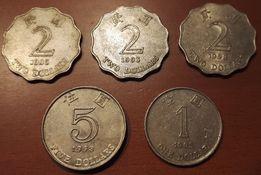 5 monet z Hong Kongu - 1, 2 i 5 dolarów - 1993, 1995, 1998 rok