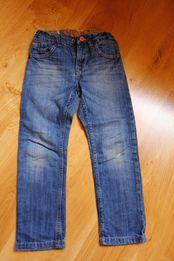 Niebieskie chłopięce dżinsy, jeans, kieszeń moro, w rozmiarze 116.