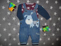 Джинсовый комбенизон и свитер Некст Next на мальчика 3-6 месяцев