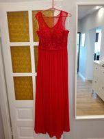 Zjawiskowa długa czerwona sukienka - suknia wesele, studniówka