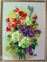 """Картина лентами """"Розы и фиалки. украшение интерьера"""