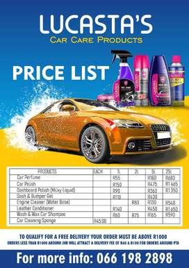 Mobile Car Wash services and Car Care Products