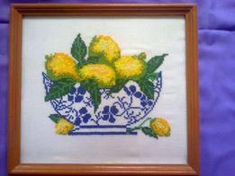 """Картина вышитая """"Лимоны в вазе"""""""