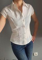 Biała, rozpinana bluzeczka z kołnierzykiem, krótki rękaw, orsay, xs