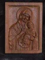 """Икона """"Богородица"""" из дерева (груша, ручная работа)"""