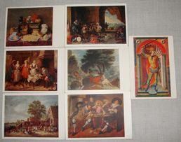 Репродукции картин из Эрмитажа Старые открытки СССР 1959г Набор 7шт