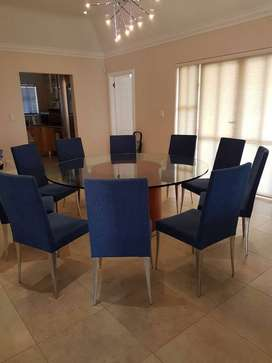 Italian Hand Crafted Glass Dining Room Table and Chairs