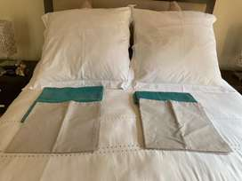 Two continentel pillows and three pillow cases