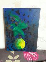 """Большая картина 30х40 """"Цитрус на рассвете"""" (холст, акрил) лимон"""