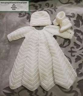 Crochet baby name-giving/christening dress sets to order