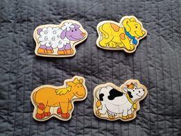 Drewniane puzzle zwierzątka . 4 sztuki w pudełku koń pies krowa owca