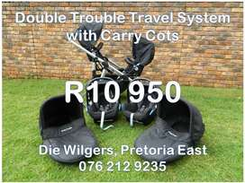 Second Hand Double Trouble Travel System with Carry Cots