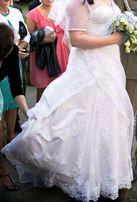 Suknia ślubna z trenem 42 44 46 gorset, DUŻY BIUST