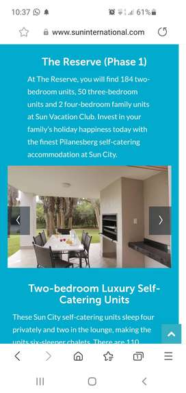 Sun City, self catering 6 sleeper avail 4th to 11th January