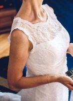 suknia ślubna skromna, kobieca XS; bolerko
