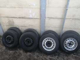 13VW steelies / rims with tires