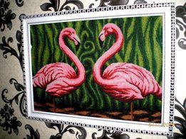 """Картина бисером """"Розовые фламинго"""""""