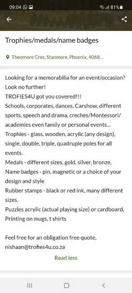 Trophies, medals, rubber stamps and name badges