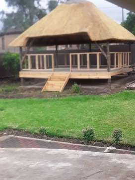 Thatch lappas and swimming pools.