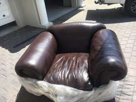 Genuine Leather Windsor Style Couch | Sofa 3pc set.