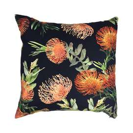 Orange Floral Black Scatter Cushion Cover 60cm x 60cm