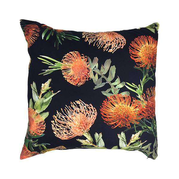 Orange Floral Black Scatter Cushion Cover 60cm x 60cm 0
