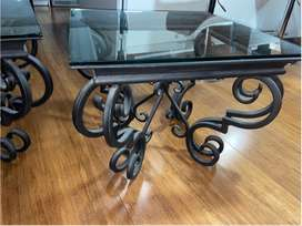 Glass cast iron tables
