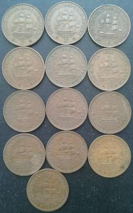 Lot of 13 S.A pennies in sequence  (1948 - 1960)