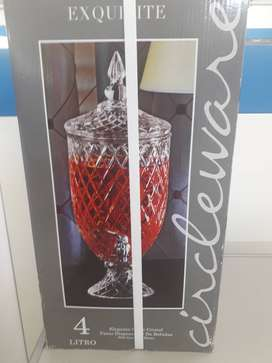 4 litre elegant cut glass footet beverage dispenser
