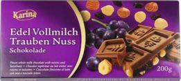 Шоколад молочный с фундуком и изюмом 200г, Карина, Германия