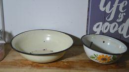 Emaliowane balie misy miski 2 sztuki śr 24 i 18 cm