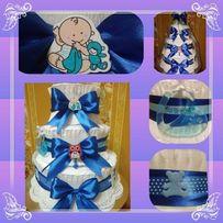 Торт из памперсов, торт з памперсів, подарок для новорожденных