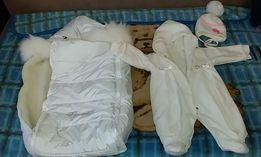 Flavien конверт для новорожденного,белый с опушкой