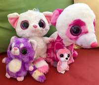 Image of 4 Adorable Colourful Big-Eyed Soft Toy Friends!
