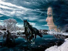 """Продам картину алмазной мозаики """"Черный конь с девушкой"""" 50*60"""