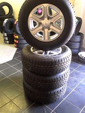 """A set of 17"""" Ford Ranger mags with brand new 265/65/17 tyres for R9999"""