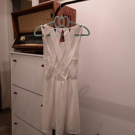 Biała sukienka h&m krzyżakowe plecy szyfonowa letnia wesele szyfon S Dąbrowa Górnicza - image 3