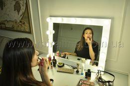 Зеркало с подсветкой для макияжа с лампочками, гримерное зеркало.