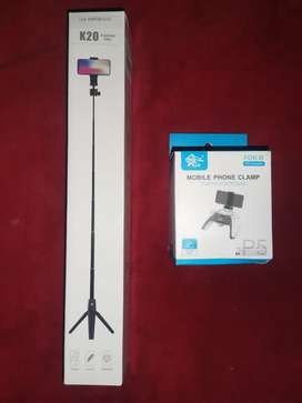 Selfie Stick, Mobile Phone Clamp, PS5 Wireless Controller