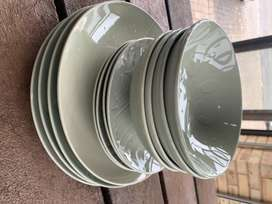 Mint green embossed dinner set - set of 12