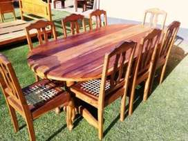 Antique Teak table with 8 chairs