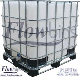 1000L FLOWBIN IBC TANK-DRUM STORAGE CONTAINER 1000LT CHEMICAL FLOW BIN