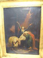 Zdjęcie Chrystusa z krzyża obraz olejny XIXw w złoconej ramie