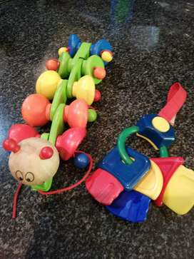 Kids pull along worm and musical keys