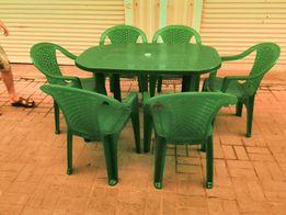 """Комплект """"Люкс"""" большой стол и 6 кресла, садовая пластиковая мебель"""