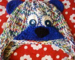 Ручная работа. Вязанная шапка - медвежонок. Шапка для фотосессии.