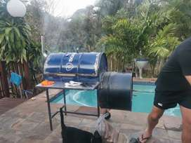 Smoker Drum Braai with offset fire pit.