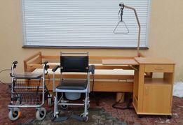 Łóżko rehabilitacyjne elektryczne +materac + szafka + balkonik + wózek