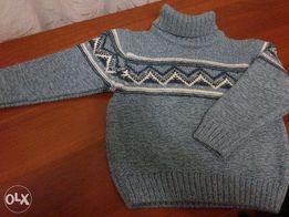 свитер детский с воротником зимний